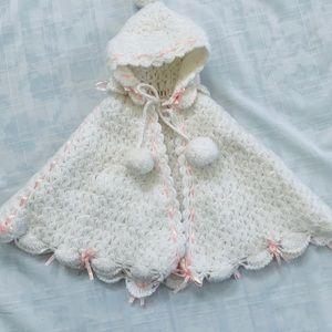 Baby Girl Hand Crochet Hooded Cape Poncho White